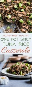 One Pot Spicy Tuna Rice Casserole - This easy, one-pot casserole tastes like a sushi roll, in a healthy, gluten free weeknight dinner form, with no messing rolling required! A crowd-pleasing meal that only requires on dish! | #Foodfaithfitness | #Glutenfree #Healthy #Casserole #Onepot