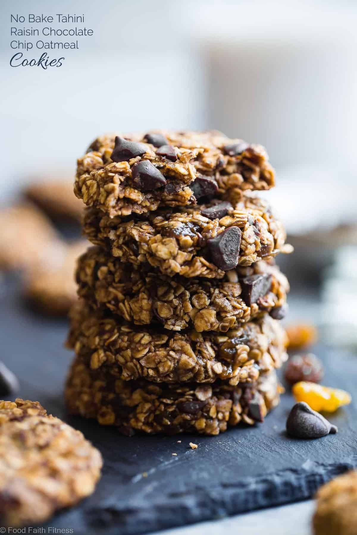 Vegan Gluten Free Oatmeal No Bake Cookies -These EASY, no bake oatmeal cookieshave a surprise tahini twist, chocolate and notes of spicy cardamon and chewy golden raisins! A healthy, gluten/dairy/egg free treat for only 110 calories! | #Foodfaithfitness | #Vegan #NoBake #Healthy #ChocolateChip #Glutenfre