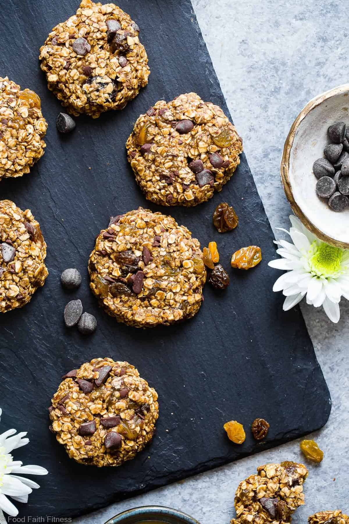 No-Bake Vegan Oatmeal Raisin, Chocolate Chip, and Tahini Cookies -These EASY, no bake oatmeal cookieshave a surprise tahini twist, chocolate and notes of spicy cardamon and chewy golden raisins! A healthy, gluten/dairy/egg free treat for only 110 calories!   #Foodfaithfitness   #Vegan #NoBake #Healthy #ChocolateChip #Glutenfree
