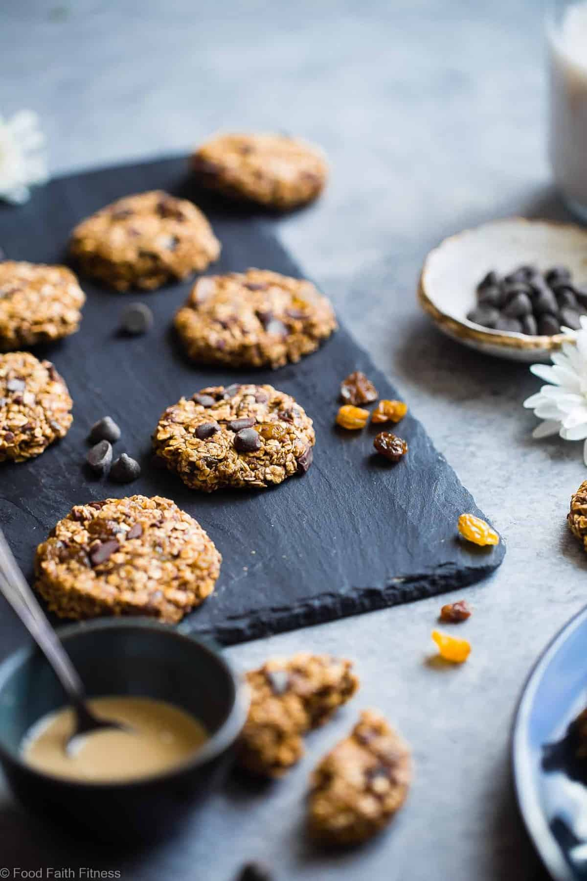 Vegan Gluten Free Oatmeal No Bake Cookies -These EASY, no bake oatmeal cookieshave a surprise tahini twist, chocolate and notes of spicy cardamon and chewy golden raisins! A healthy, gluten/dairy/egg free treat for only 110 calories! | #Foodfaithfitness | #Vegan #NoBake #Healthy #ChocolateChip #Glutenfree