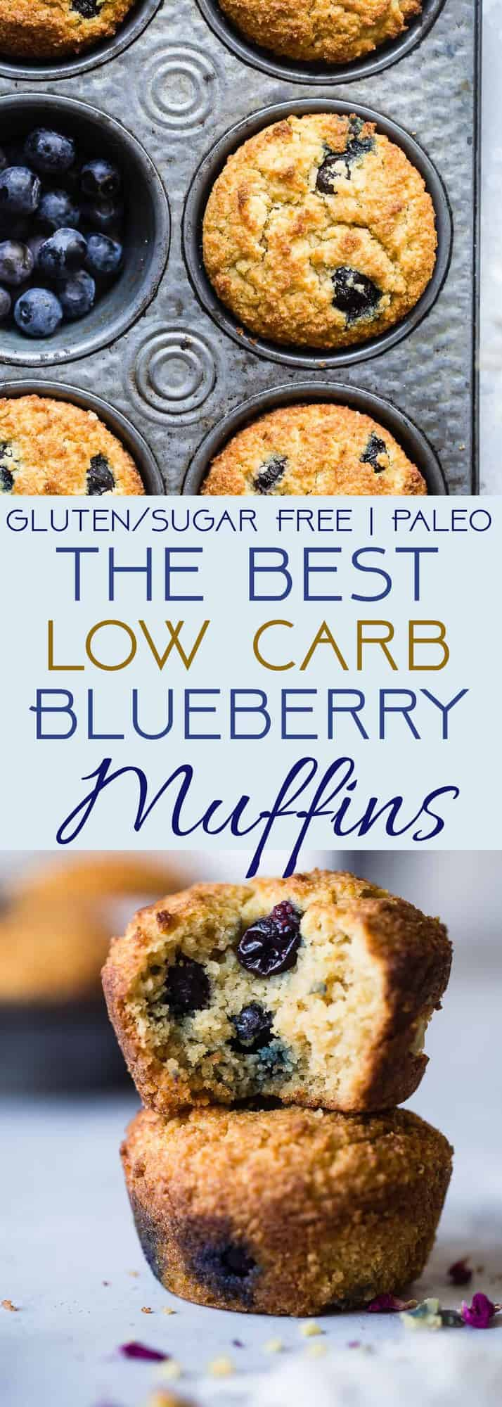 The BEST Low Carb, Sugar Free Blueberry Muffins - SO moist and tender, you'll never believe they are gluten/grain/dairy/sugar free and keto friendly! Perfect for breakfast or snacks for kids OR adults! | #Foodfaithfitness | #Lowcarb #Healthy #Glutenfree #Keto #Sugarfree