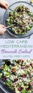 Low Carb Mediterranean Broccoli Salad -This Low Carb Broccoli Salad, with a Greek twist, is a super easy, healthy and protein packed side dish for dinner or a potluck! It's made with Greek yogurt and you won't even miss the mayo! | #Foodfaithfitness | #Lowcarb #Keto #Glutenfree #Healthy