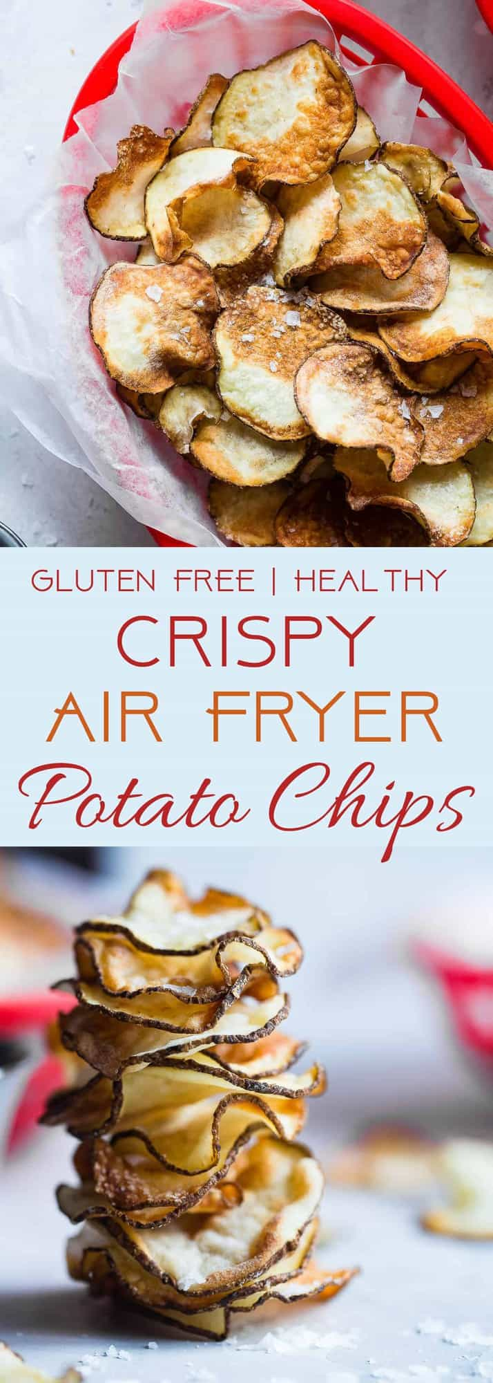 Air Fryer Potato Chips -These EASY Air Fryer Potato Chips are perfectly crispy and crunchy and only use 2 ingredients! You'll never believe they are healthy, vegan, gluten free and only 75 calories for a large serving! | #Foodfaithfitness | #Glutenfree #Airfryer #Healthy #Vegan #CleanEating