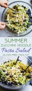 Summer Zucchini Noodle Pasta Salad - This gluten free Zucchini Noodle Pasta Salad is an easy, healthy side dish loaded with smoky grilled corn, sweet blueberries and  a tangy honey lime basil vinaigrette! Perfect for summer potlucks and only 140 calories! | #Foodfaithfitness | #Healthy #Spiralized #Glutenfree #Vegetarian #Salad