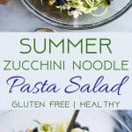 Summer Zucchini Noodle Pasta Salad -This gluten freeZucchini Noodle Pasta Salad is an easy, healthy side dish loaded with smoky grilled corn, sweet blueberries and a tangy honey lime basil vinaigrette! Perfect for summer potlucks and only 140 calories! | #Foodfaithfitness | #Healthy #Spiralized #Glutenfree #Vegetarian #Salad