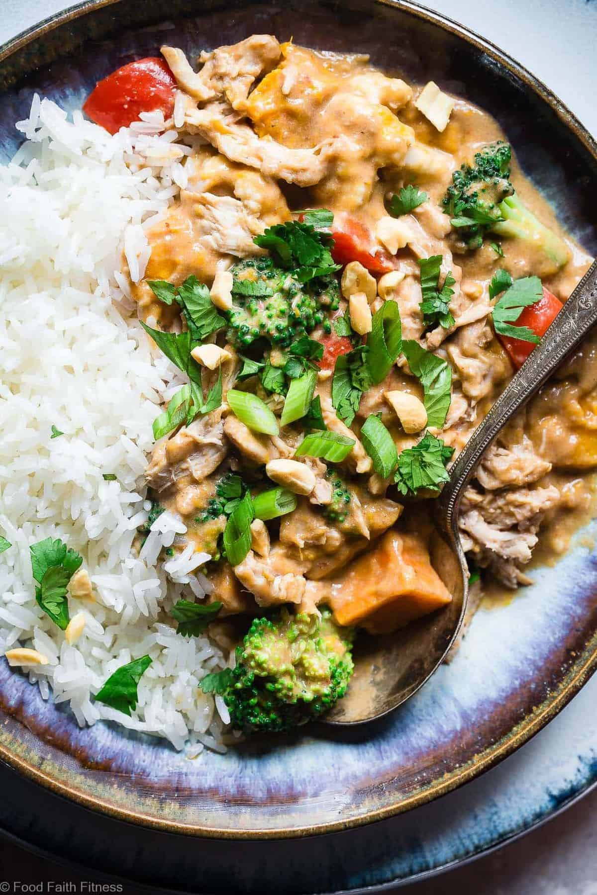 Easy Crockpot Thai Peanut Butter Chicken Curry - The slow cooker does all the work for you in this EASY, weeknight family-friendly dinner that is gluten and dairy free and packed protein. Great for meal prep too! | #Foodfaithfitness | #Glutenfree #Dairyfree #Slowcooker #Crockpot #Healthy