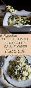 Easy Cheesy Loaded Broccoli Cauliflower Casserole - THE side dish that will make your family love vegetables - even picky eaters! Low carb, gluten/grain/sugar free and keto friendly too! | #Foodfaithfitness | #Glutenfree #Keto #Lowcarb #Cauliflower #Healthy