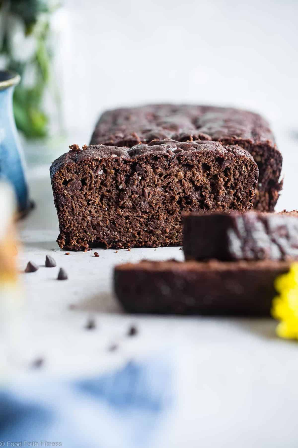 Easy Healthy Chocolate Paleo Zucchini Bread - This gluten free zucchini bread is secretly packed with protein and collagen to support healthy skin and bones! It's a healthy, breakfast or snack for kids and adults, and freezes great! | #Foodfaithfitness | #FoodFaithFit | #Paleo #Glutenfree #Collagen #Chocolate #Healthy