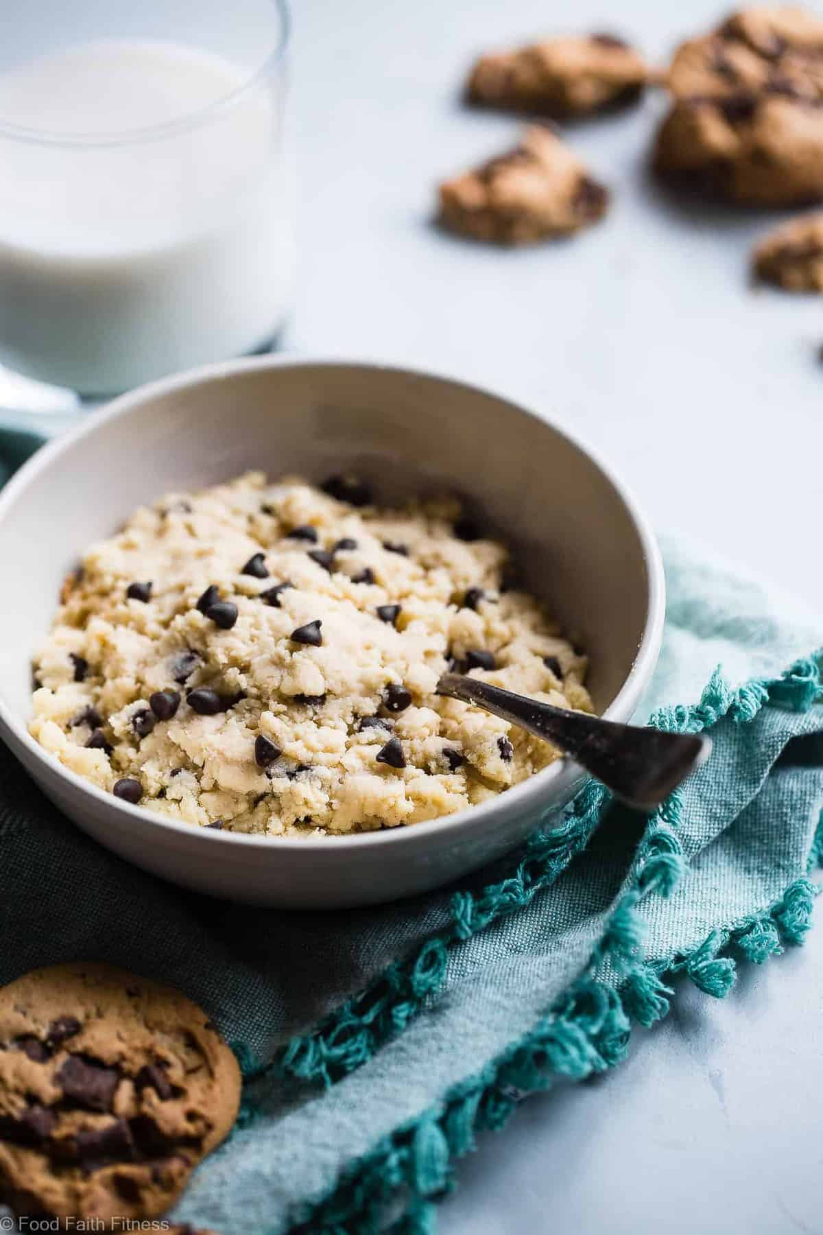Healthy Protein Powder Cookie Dough -  This 5 ingredient healthy, edible cookie dough is gluten free, paleo/vegan friendly and ready in 5 minutes! It packs 20g of protein and only 200 calories so you can eat the whole bowl! | #Foodfaithfitness | #Glutenfree #Healthy #Paleo #Vegan #Snack