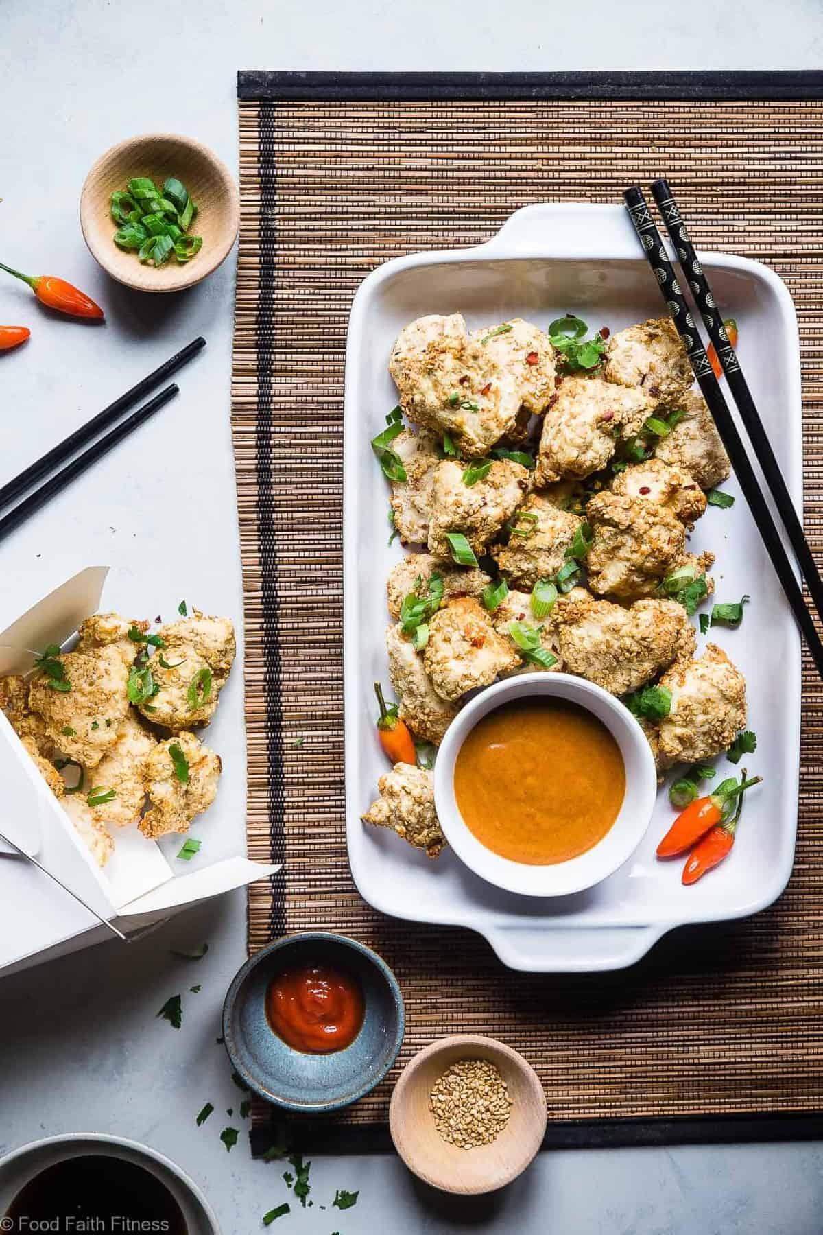 Low Carb Keto Paleo Baked Chicken Nuggets - These baked chicken nuggets areare cooked in the air fryer and have an Asian twist! A healthy, whole30, gluten free, family-friendly weeknight dinner that even picky eaters will love! Oven baked option too! | #Foodfaithfitness | #Paleo #Whole30 #Lowcarb #Glutenfree #Keto