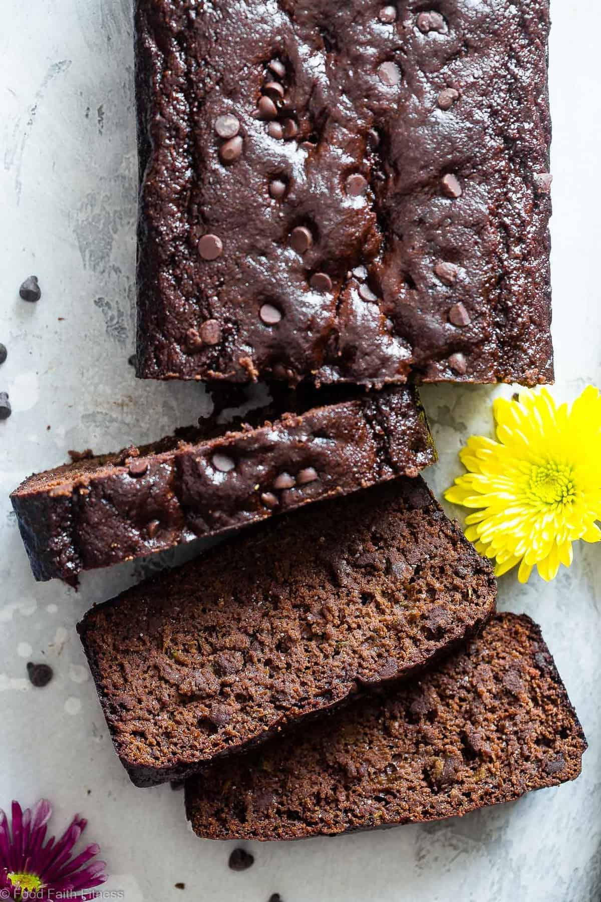 close up of paleo zucchini bread with slices cut out