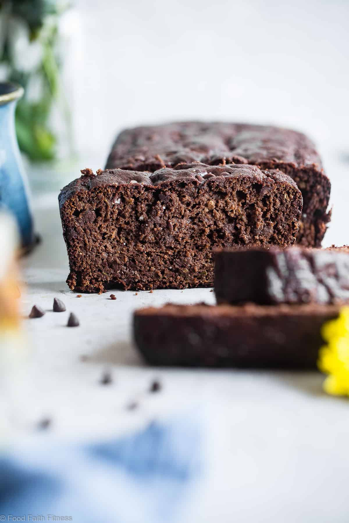 front view of paleo zucchini bread with chocolate chips