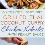 Grilled Pineapple Thai Chicken Skewers with Peanut Sauce - Addictinglyspicy, with just a bit of smoky and sweet! The perfect healthy, gluten free dinner for summer with a paleo option! | #Foodfaithfitness | #Glutenfree #Paleo #Healthy #Dairyfree #Chicken