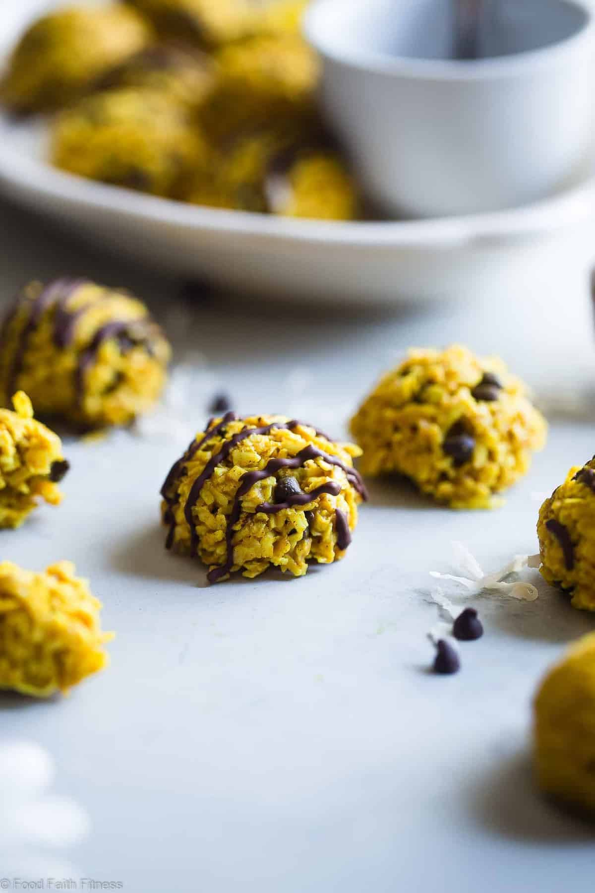 Healthy No Bake Cookies with Coconut Oil -  These easy, 6 ingredient cookies have addicting spicy-sweet flavors from turmeric, almond butter and chocolate chips! They're a paleo, vegan and gluten free treat that is secretly anti-inflammatory! | #Foodfaithfitness | #Paleo #Vegan #Glutenfree #Dairyfree #Healthy
