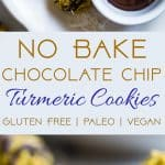 No Bake Turmeric Almond Coconut Macaroons -  These easy, 6 ingredient cookies have addicting spicy-sweet flavors from turmeric, almond butter and chocolate chips! They're a paleo, vegan and gluten free treat that is secretly anti-inflammatory! | #Foodfaithfitness | #Paleo #Vegan #Glutenfree #Dairyfree #Healthy