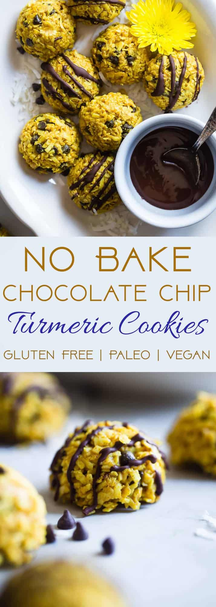 No Bake Turmeric Almond Coconut Macaroons - These easy, 6 ingredient cookieshave addicting spicy-sweet flavors from turmeric, almond butter and chocolate chips! They're a paleo, vegan and gluten free treat that is secretly anti-inflammatory! | #Foodfaithfitness | #Paleo #Vegan #Glutenfree #Dairyfree #Healthy