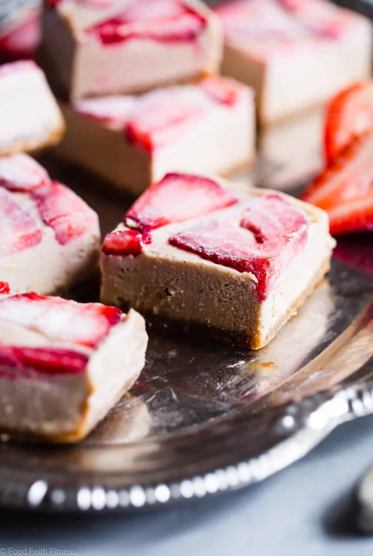 No Bake Gluten Free Paleo Lemon Bars - This EASY vegan lemon bar recipe has the flavor of sweet strawberries and creamy cashews with zippy lemon! A healthy, paleo friendly, dairy free treat for the summer! | #Foodfaithfitness | #Dairyfree #Paleo #Vegan #Glutenfree #Nobake
