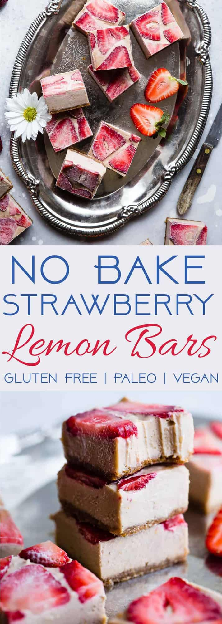 No Bake Strawberry Cashew Paleo Lemon Bars - This EASY vegan lemon bar recipe has the flavor of sweet strawberries and creamy cashews with zippy lemon! A healthy, paleo friendly, dairy free treat for the summer! | #Foodfaithfitness | #Dairyfree #Paleo #Vegan #Glutenfree #Nobake