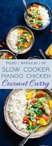 Whole30 Slow Cooker Mango Chicken Curry- An easy, healthy family-friendly weeknight dinner where the slow cooker does all the work for you! Gluten free and paleo/whole30 compliant too! Makes DELICIOUS leftovers for meal prep! | #Foodfaithfitness | #Glutenfree #Healthy #Paleo #Whole30 #Curry