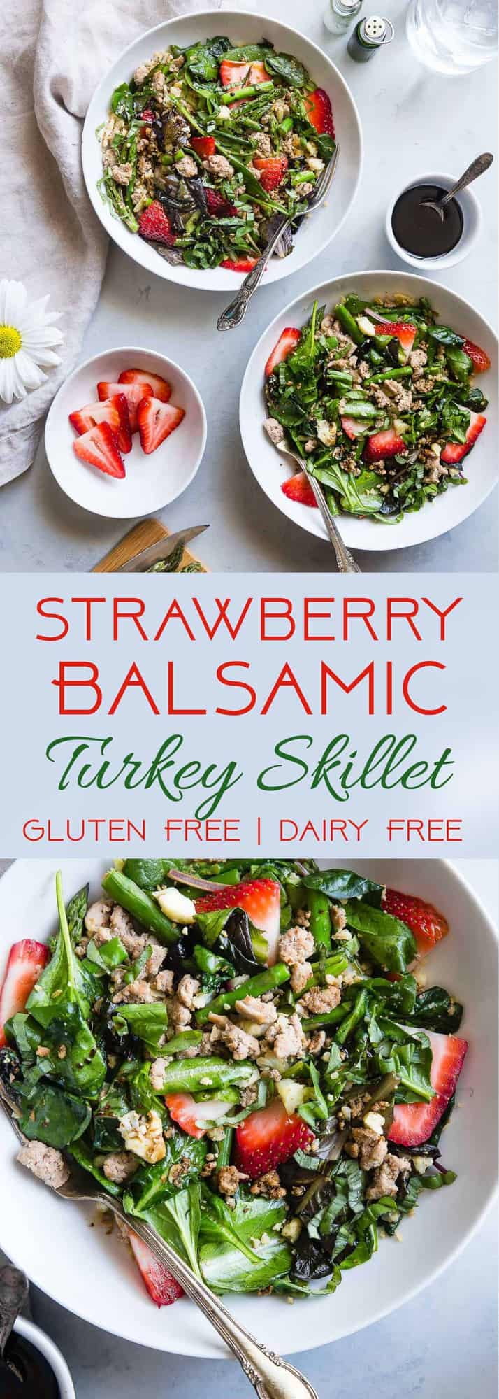 Paleo Strawberry Balsamic Cauliflower Turkey Skillet - These easy, weeknight dinner is loaded with sweet and tangy summer flavors! It's a unique, protein packed dinner that is gluten, grain and dairy free and only 300 calories! | #Foodfaithfitness.com | #Paleo #Glutenfree #Healthy #Dairyfree #Grainfree