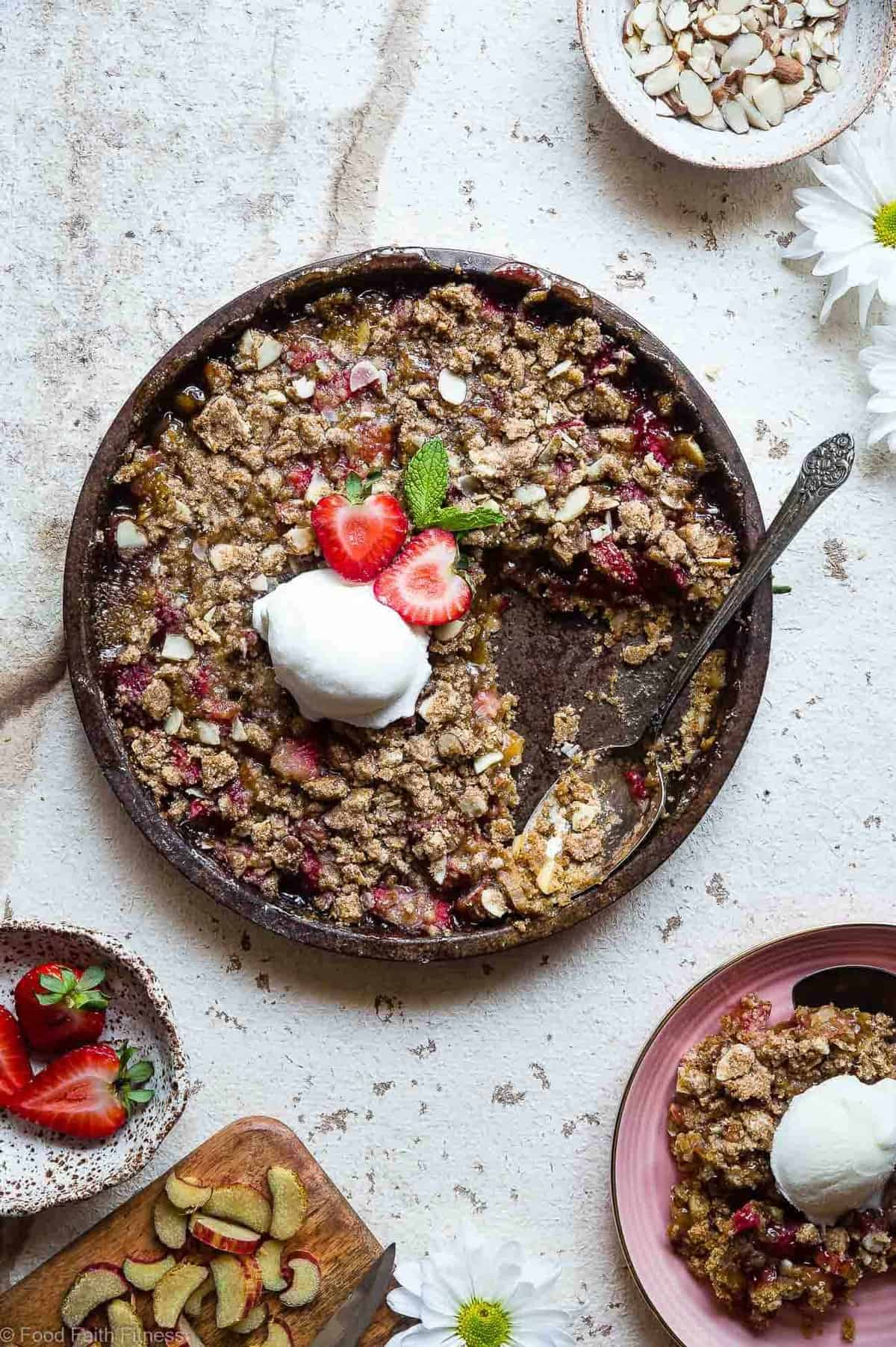 Easy Gluten Free Strawberry Rhubarb Crisp - This healthier Strawberry Rhubarb Crisp is a better for you dessert made with wholesome, simple ingredients! Dairy, gluten, grain free and paleo and vegan friendly too! | #Foodfaithfitness | #Vegan #Paleo #Glutenfree #Healthy #Dessert