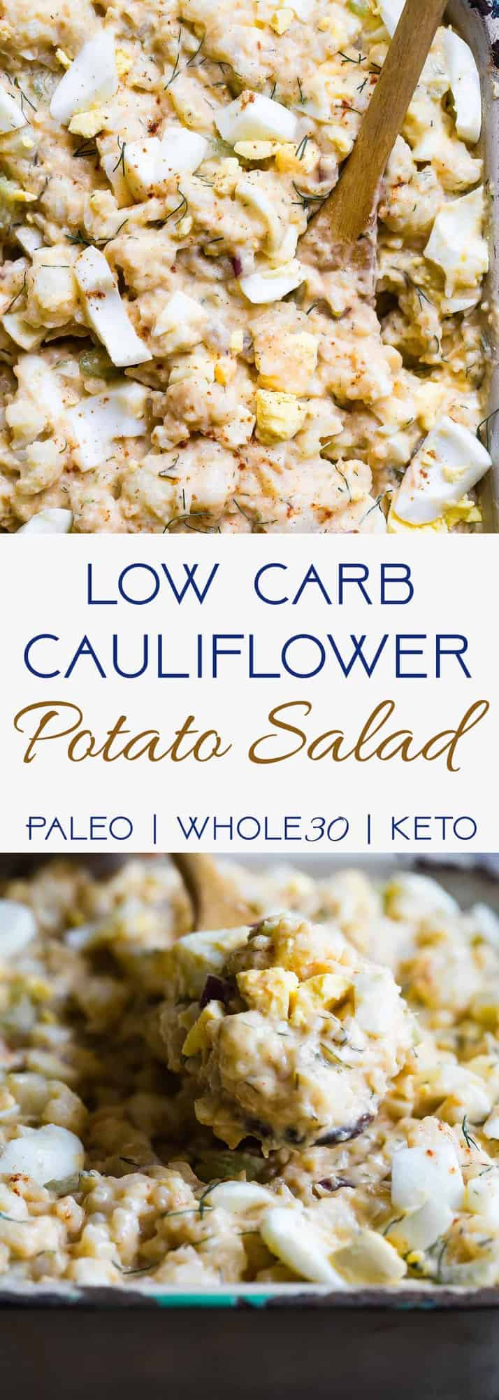 Low Carb Cauliflower Potato Salad -This keto, paleo and whole30Cauliflower Potato Salad tastes EXACTLY like the classic potato salad without the carbs! Everyone will be fooled by this healthy comfort food! | #Foodfaithfitness | #Paleo #Keto #Glutenfree #Lowcarb #Whole30