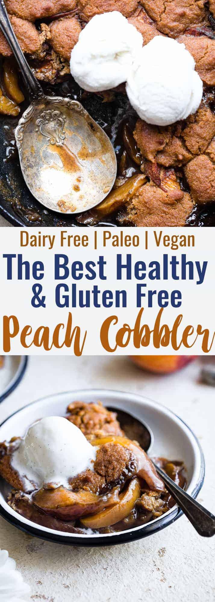 collage photo of paleo peach cobbler