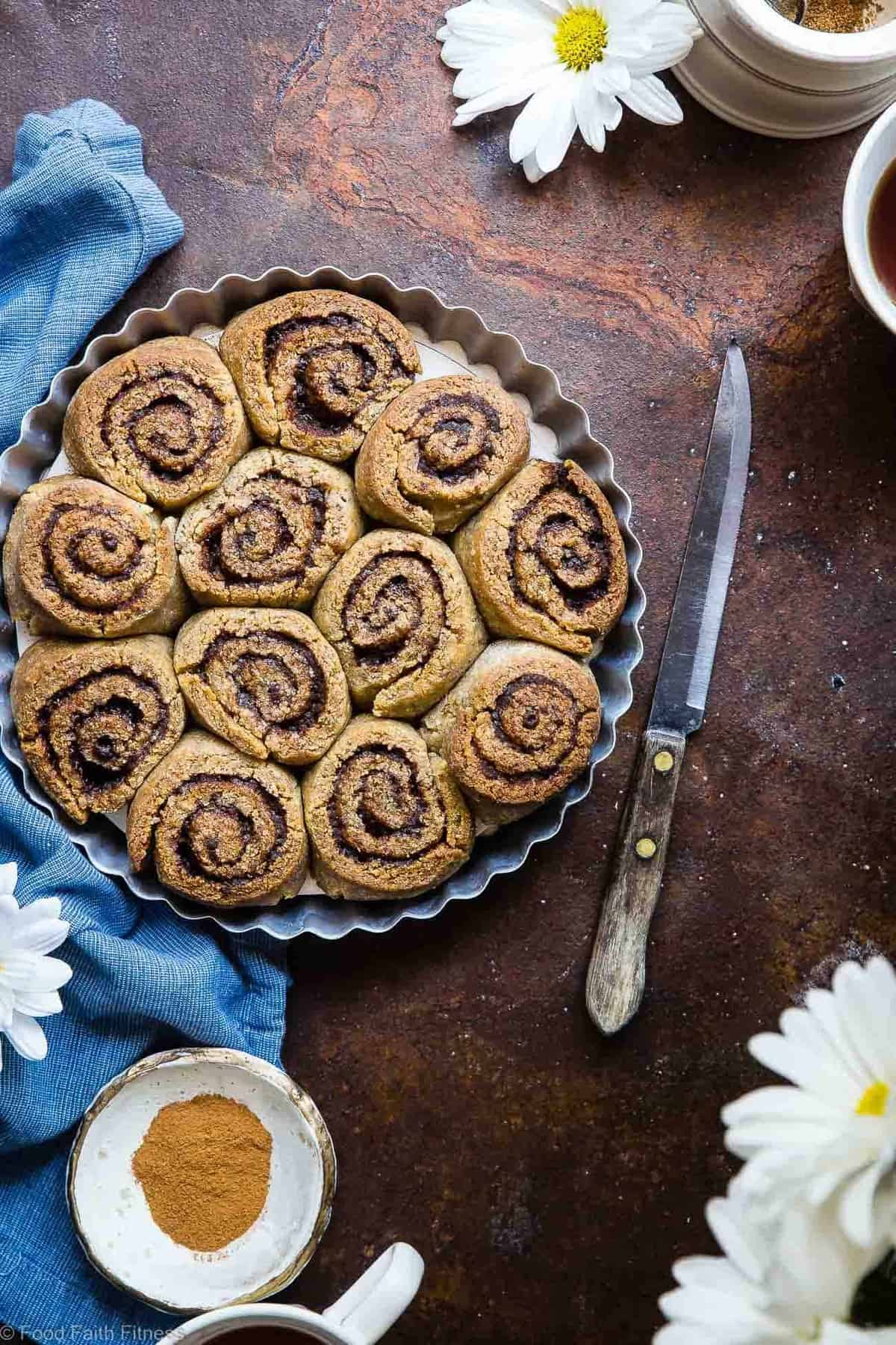 The Best Almond Flour Paleo Cinnamon Rolls - These gluten free cinnamon rolls area simple, wholesome remake of the classic baked good that you can't even tell is healthy, and gluten/dairy free! SO soft, fluffy and YUMMY! | #Foodfaithfitness | #Paleo #Glutenfree #Healthy #Dairyfree #Cinnamonrolls