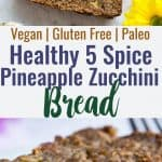Five Spice Eggless Vegan Zucchini Bread - This healthy, gluten free zucchini bread has ADDICTING spicy-sweet flavor and is SO moist and tender! You'll never know it's dairy and grain free and paleo friendly! Freezer friendly too! | #Foodfaithfitness | #Glutenfree #Vegan #Paleo #Dairyfree #Healthy