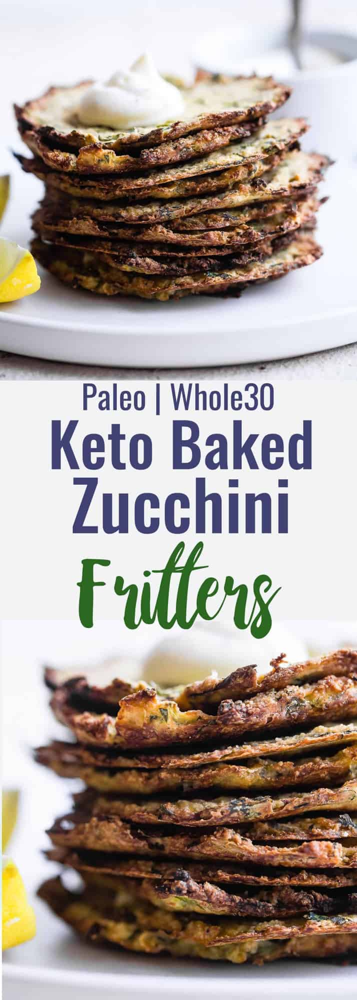 Paleo Baked Zucchini Fritters - These EAS, keto Baked Zucchini Fritters are served with an addicting lemon dill drop and are SO crispy, you'll never believe they're baked not fried! Gluten free, low carb, whole30 and insanely tasty! | #Foodfaithfitness | #Glutenfree #keto #Paleo #Whole30 #Lowcarb