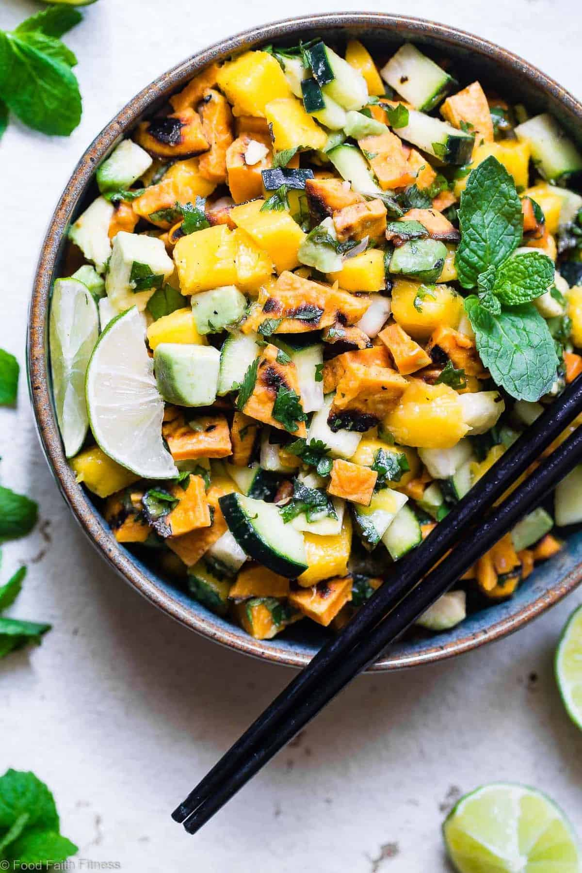 Thai Mango Avocado Salad with Grilled Sweet Potatoes - Loaded with sweet mango, tangy lime juice and creamy avocado, this is an EASY, healthy summer side that is sure to please! Gluten free, vegan, paleo and whole30 friendly too! | #Foodfaithfitness | #Whole30 #Glutenfree #Vegan #Paleo #Dairyfree