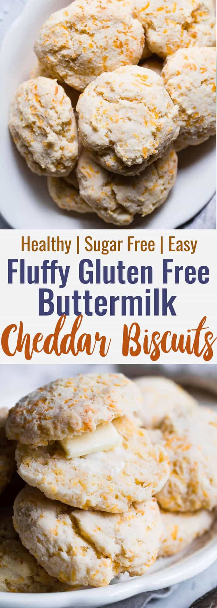 Gluten Free Buttermilk Cheddar Biscuits -These biscuitsare SO flaky, soft and buttery that you won't believe how easy they are! These are hands down the BEST gluten free biscuits! | #Foodfaithfitness | #Glutenfree #Healthy #Biscuits #Sugarfree