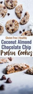 Almond Chocolate Chip Coconut Protein Cookies - This EASY protein cookie recipe use almond butter to make them extra soft and chewy! You will never know these are gluten free, healthy and packed with protein! | #Foodfaithfitness | #Glutenfree #Healthy #Cookies #Coconut #ChocolateChip