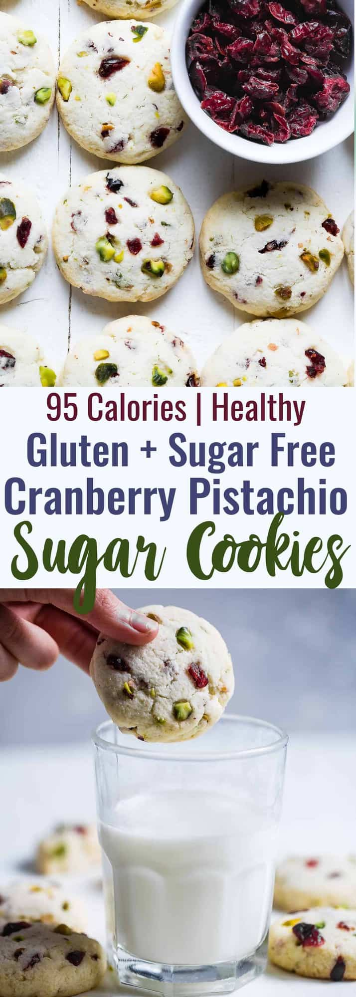 Gluten Free Sugar Free Sugar Cookies -These quick and easy, CHEWY sugar freesugar cookies havetangy and crunchy cranberries and pistachios! They're a healthier Christmas treat for only 95 calories! | #Foodfaithfitness | #Glutenfree #Sugarfree #Lowcarb #Healthy #Sugarcookies