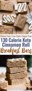 Sugar Free Keto Cinnamon Roll Breakfast Bars -TheseLow Carb Breakfast Bars are only 130 calories and tastes like a cinnamon roll in healthy, gluten free form! Great for kids and adults and perfect for busy mornings! | #Foodfaithfitness | #Keto #Lowcarb #Glutenfree #Sugarfree #Healthy