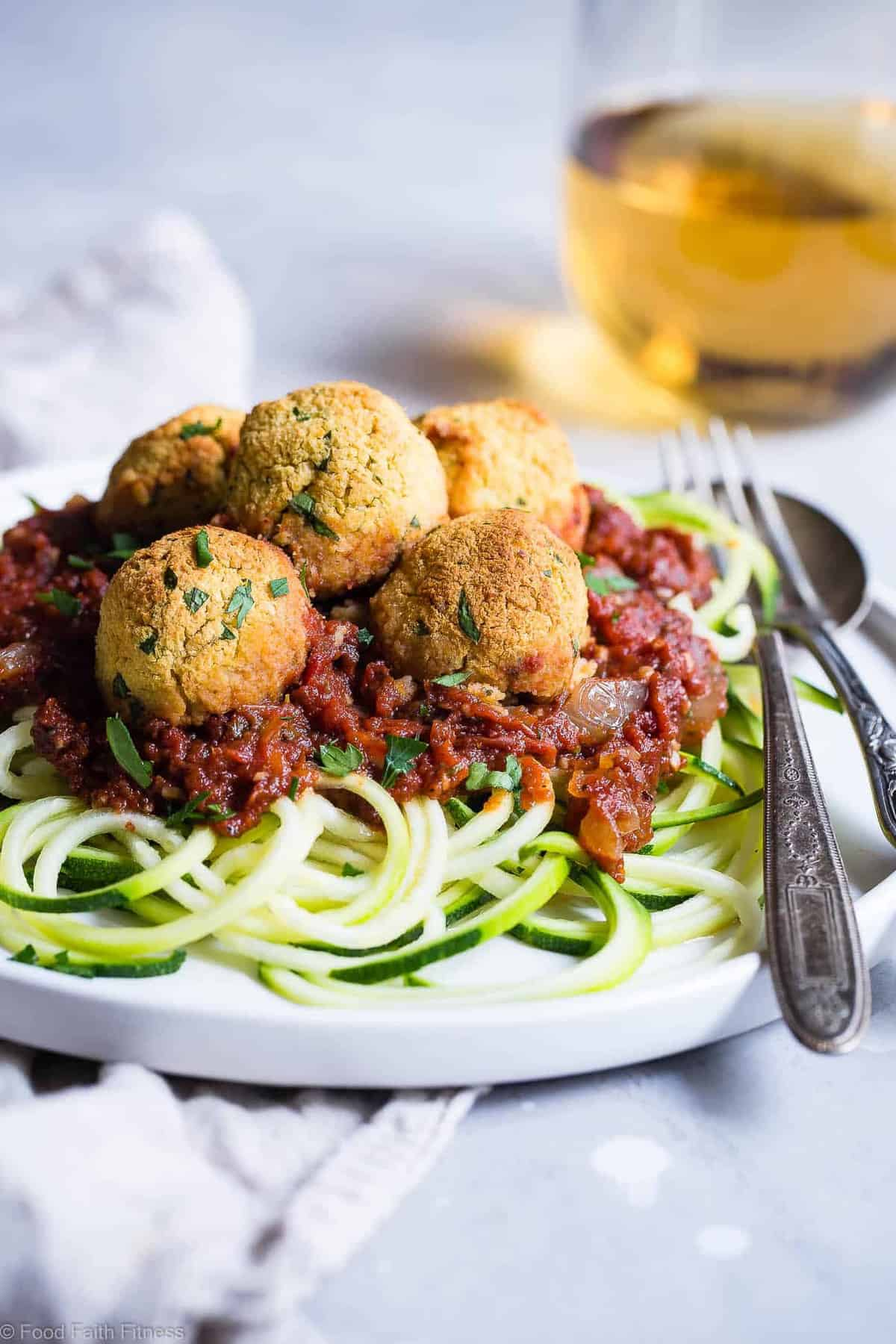 Gluten Free Vegan Chickpea Vegetarian Meatballs Recipe with Tomato Sauce - These meatless, gluten free meatballs are SO crispy, they will blow your mind! Serve them with an easy tomato sauce for a tasty, healthy dinner that's packed with plant protein and fiber! | #Foodfaithfitness | #Vegan #Glutenfree #Healthy #Vegetarian #Dairyfree