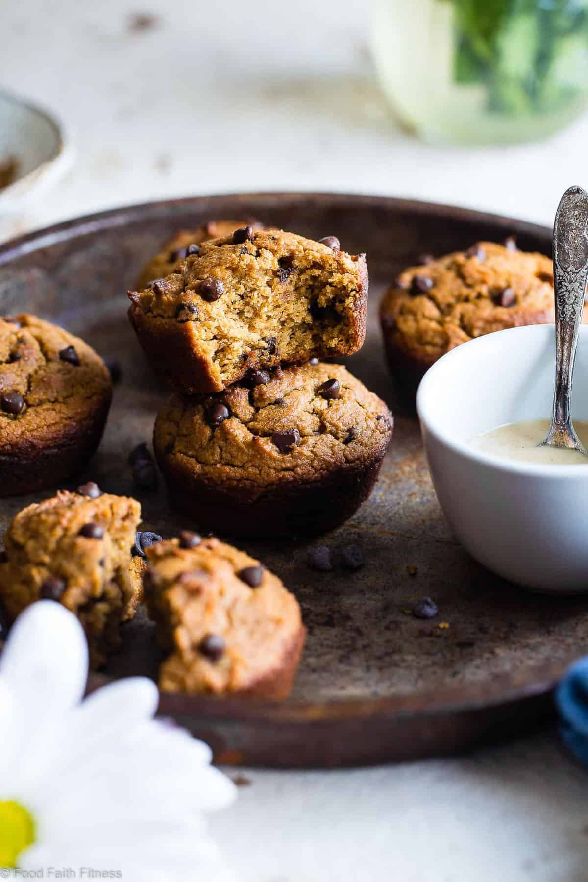 Gluten Free Spiced Chocolate Chip Sweet Potato Muffins - These healthy gluten free sweet potato muffins are packed with spicy-sweetness and lots of chocolate chips! Paleo friendly, made in one bowl and SO fluffy! | #Foodfaithfitness | #Glutenfree #Healthy #Paleo #Dairyfree #Muffins