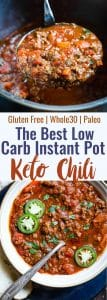Instant Pot Whole30 Keto Chili - This paleo chili is a meat lovers dream! It's the easiest healthy weeknight dinner that the whole family will love and it freezes great for leftovers or meal prep! | #Foodfaithfitness | #Keto #Lowcarb #Paleo #Whole3o #InstantPot
