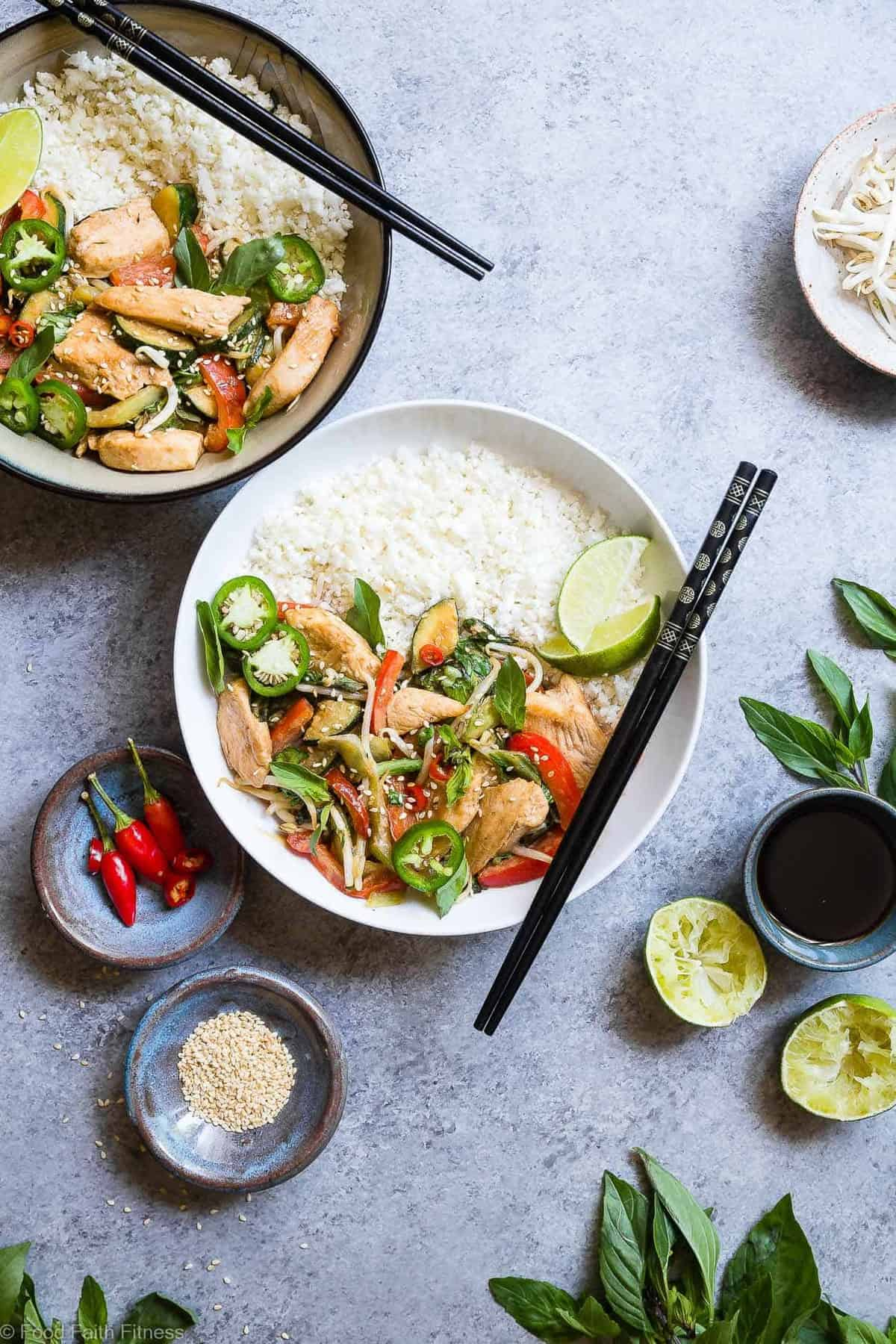 Spicy Thai Basil Chicken Stir Fry - A 20 minute, healthy, gluten free dinner that is paleo friendly, lower carb and only 300 calories! It will be your new go to weeknight meal! | #Foodfaithfitness | #Glutenfree #Paleo #Lowcarb #Healthy #DairyFree