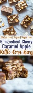 Salty Sweet Caramel Apple Kettle Corn Bars - Made with date caramel, dried apples and a punch of salty kettle corn, these easy, CHEWY, no-bake bars are addictingly salty-sweet!  Vegan friendly and gluten and sugar free, but you would never know they're better for you! | #Foodfaithfitness | #Glutenfree #Vegan #Healthy #Sugarfree #Dairyfree