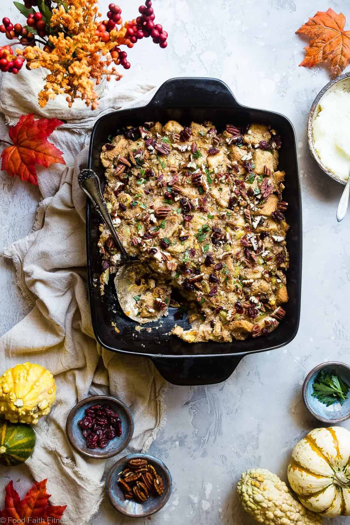 Harvest Gluten Free Vegan Stuffing - This moist Dairy Free Simple Vegan Stuffing Recipe is loaded with fall flavors like pears, oranges, cranberries and cozy cinnamon! Easy, gluten free and SO tasty! | #Foodfaitfitness | #Glutenfree #Vegan #Dairyfree #Healthy #Thanksgiving