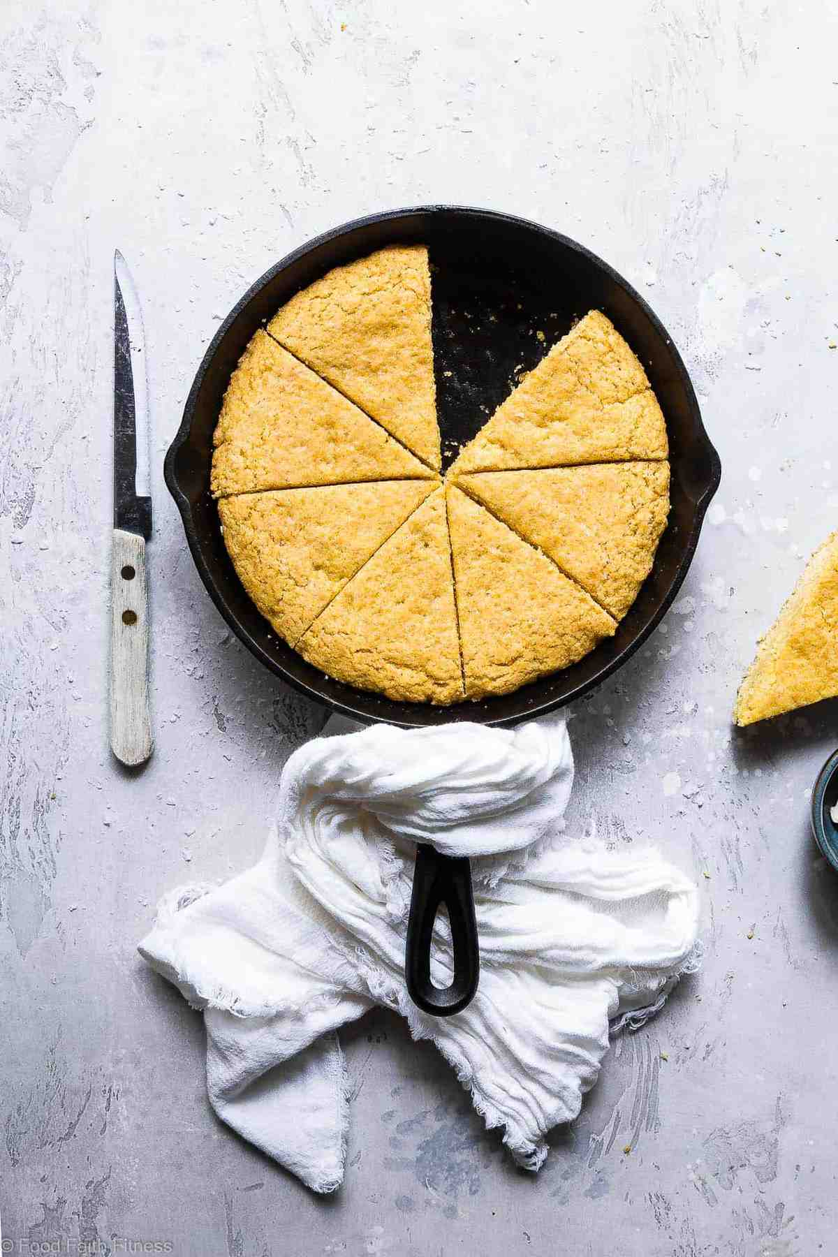 The Best Vegan Cornbread Recipe - This is theBEST gluten free, dairy free, egg free and vegancornbread recipe! It's perfectly sweet, dense and SO chewy, you will never believe it's healthy and SO easy to make! | #Foodfaithfitness | #Glutenfree #Vegan #Dairyfree #Eggfree #Cornbread