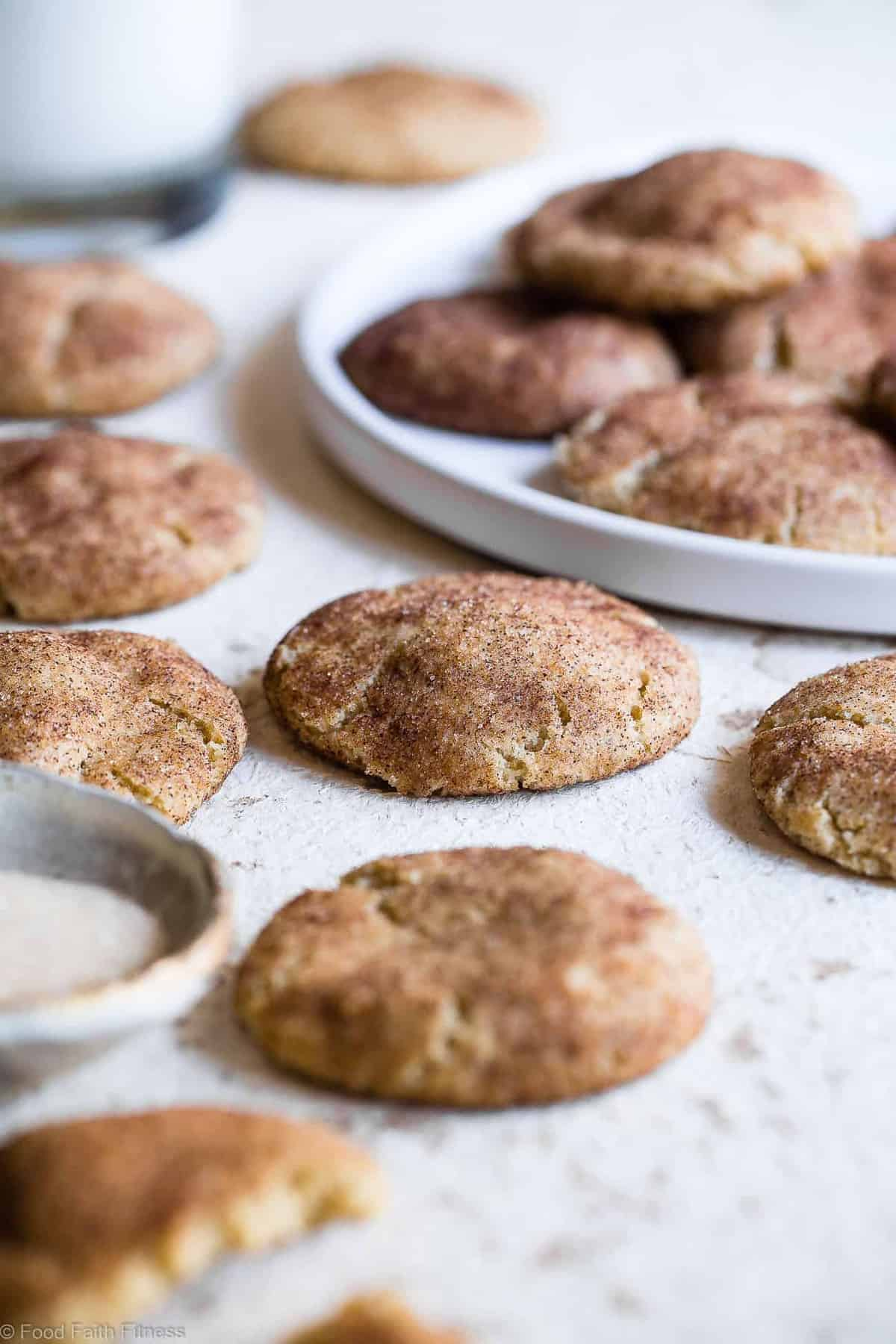 Gluten Free Vegan Snickerdoodles -These EASY, egg, dairy and gluten free snickerdoodles are perfectly soft, chewy and spicy-sweet! Made from simple, pantry-essential ingredients, only 120 calories and SO tasty! | Foodfaithfitness | #Glutenfree #Vegan #Healthy #Dairyfree #Eggfree