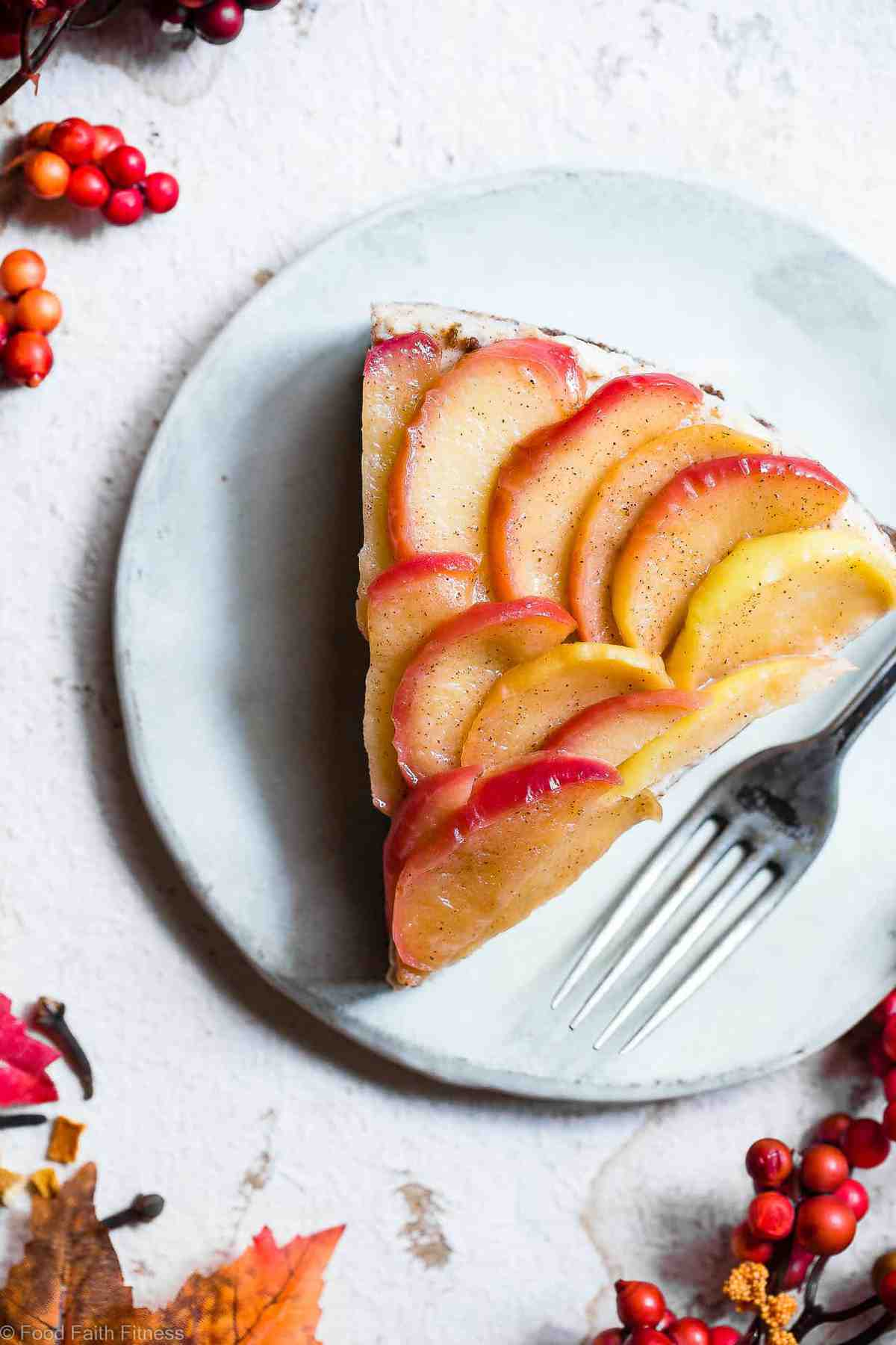 Honey Apple Goat Cheese Cheesecake - This creamy chevre cheesecake is topped with cinnamon honey apples and is perfectly sweet and a little bit tangy! Gluten free, grain free and made with Greek yogurt to keep it light! My husband said it's the best dessert he has ever had! | #Foodfaithfitness | #Glutenfree #Cheesecake #Grainfree #Healthy #Goatcheese