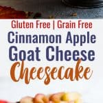 Honey Apple Goat Cheese Cheesecake - This creamy cheesecake is topped with cinnamon honey apples and is perfectly sweet and a little bit tangy! Gluten free, grain free and made with Greek yogurt to keep it light! My husband said it's the best dessert he has ever had! | #Foodfaithfitness | #Glutenfree #Cheesecake #Grainfree #Healthy #Goatcheese