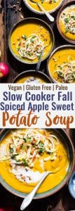 Slow Cooker Creamy Fall Vegan Sweet Potato Soup - this healthysweet potato soup is made in the slow cooker for an EASY weeknight dinner that is loaded with spicy-sweet, cozy flavor! Gluten free, paleo and SO creamy and delicious! | #Foodfaithfitness | #Paleo #Glutenfree #Vegan #Dairyfree #slowcooker