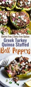 Greek Healthy Turkey Quinoa Stuffed Bell Peppers - These Turkey Quinoa Stuffed Bell Peppers are an easy, crowd-pleasing, weeknight dinner packed with Greek flavors! Healthy, gluten free, dairy free and SO delicious! | #Foodfaithfitness | #Glutenfree #Healthy #Quinoa #Dairyfree #Dinner