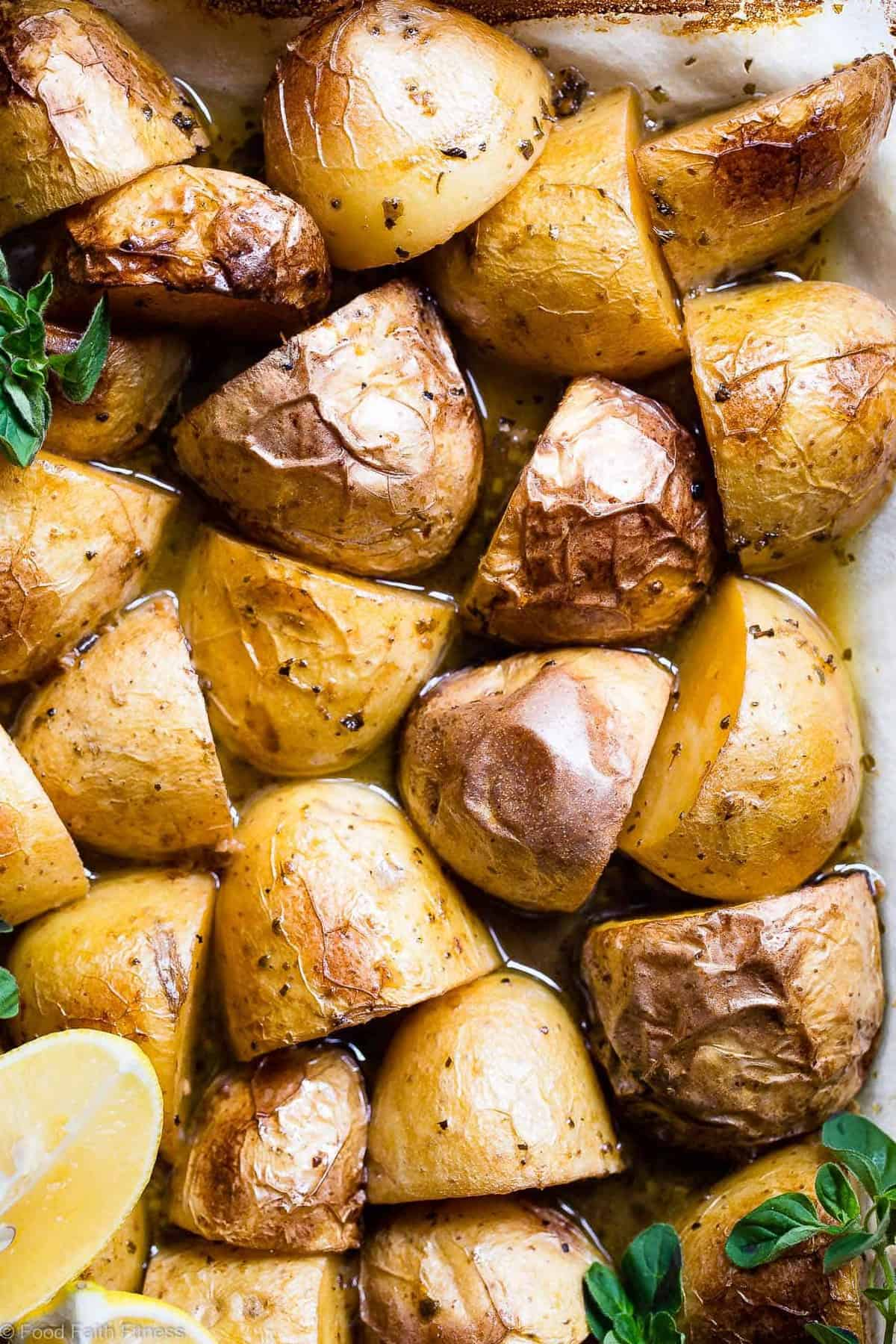 Oven Roasted Lemon Greek Potatoes - These are the BEST Oven Roasted Lemon Greek Potatoes! Tangy, zesty and so packed with flavor you will make them all the time! SO easy, whole30 complaint and vegan/ gluten free too! | #Foodfaithfitness | #Glutenfree #Vegan #Whole30 #Healthy #Dairyfree
