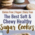 Soft Gluten Free Vegan Sugar Cookies - These SOFT and CHEWY Gluten Free Sugar Cookies are SO easy to make and seriously tasty! No one will believe these are healthy, dairy and egg free and only 115 calories! | #Foodfaithfitness | #vegan #healthy #dairyfree #eggfree #glutenfree