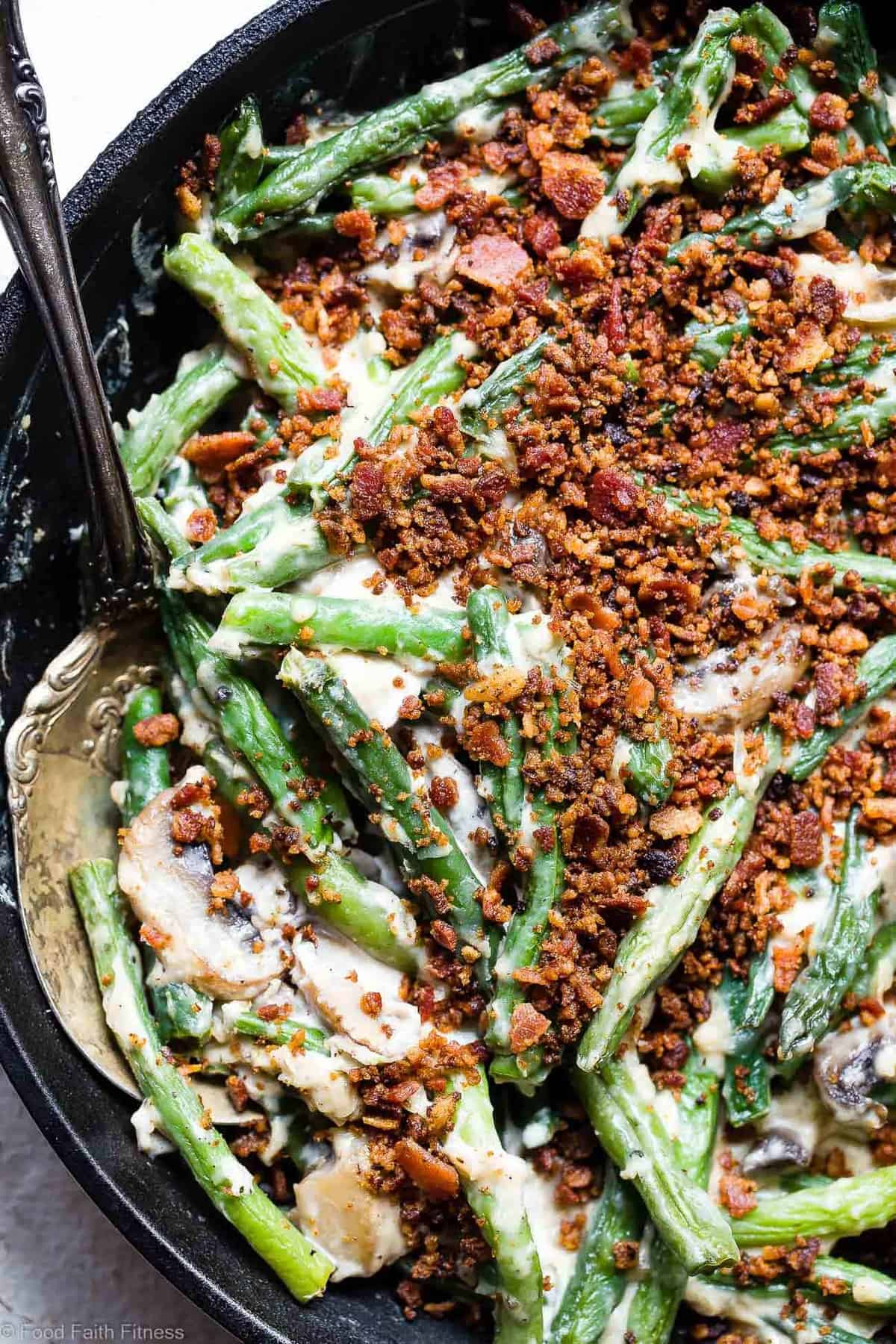 Low Carb Keto Green Bean Casserole - This Low Carb Green Bean Casserole is an EASY, healthy remake of the classic side! No one will know it's better for you! Dairy free option included! | #Foodfaithfitness | #Glutenfree #Dairyfree #Keto #Lowcarb #Healthy